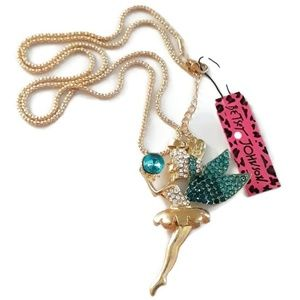 Betsey Johnson Fairy Pendant Gold Necklace